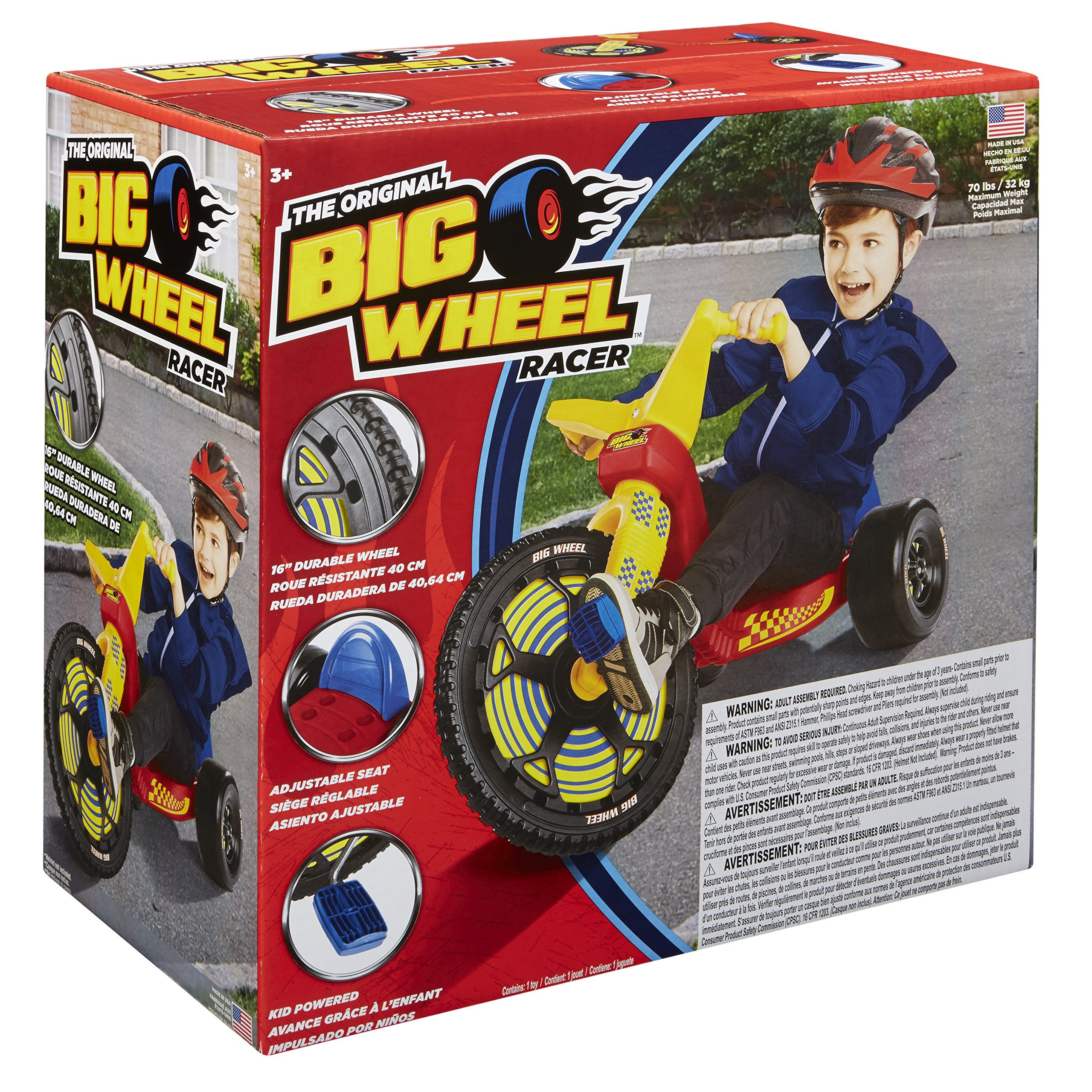 The Original Big Wheel 16in. Racer Classic, Red and Yellow, 13.5-Pound