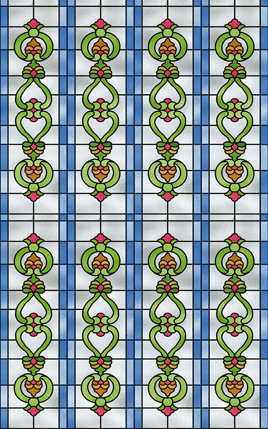 Alkor Sticky Back Plastic (self adhesive vinyl window film) Stained Glass Effect Church 45cm x 2m 380-0105