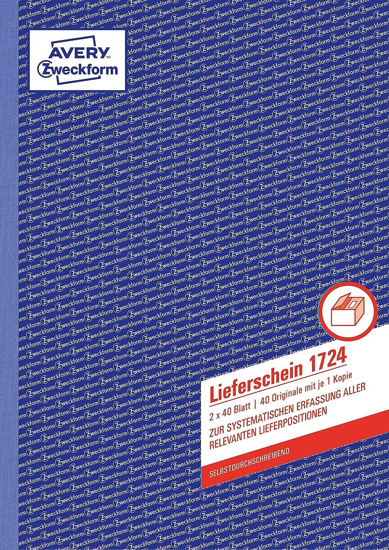"AVERY Zweckform Formularbuch /""Lieferschein/"" DIN A6 2 x 40 Blatt"