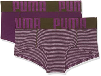 Puma Yarn Dyed Stripe Mini Shorts 2P Ropa Interior, Mujer, Dark Purple/Grey