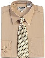 Gioberti Boy's Long Sleeve Dress Shirt + Stripe Clip Tie