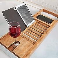 Woodluv Luxury Bath Bridge Tub Caddy Tray Rack Bathroom Shelf, Brown