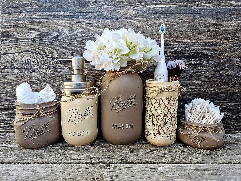 Bathroom Storage Decor. 5 Mason Jar Bathroom Set in Wooden Tray. Toothbrush Holder. Cotton Swab Holder. Painted Mason Jars
