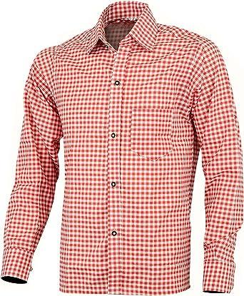 para Hombre bávaro Estilo clásico Manga Larga de pantalón Rojo Cuadros Camisas: Amazon.es: Ropa y accesorios