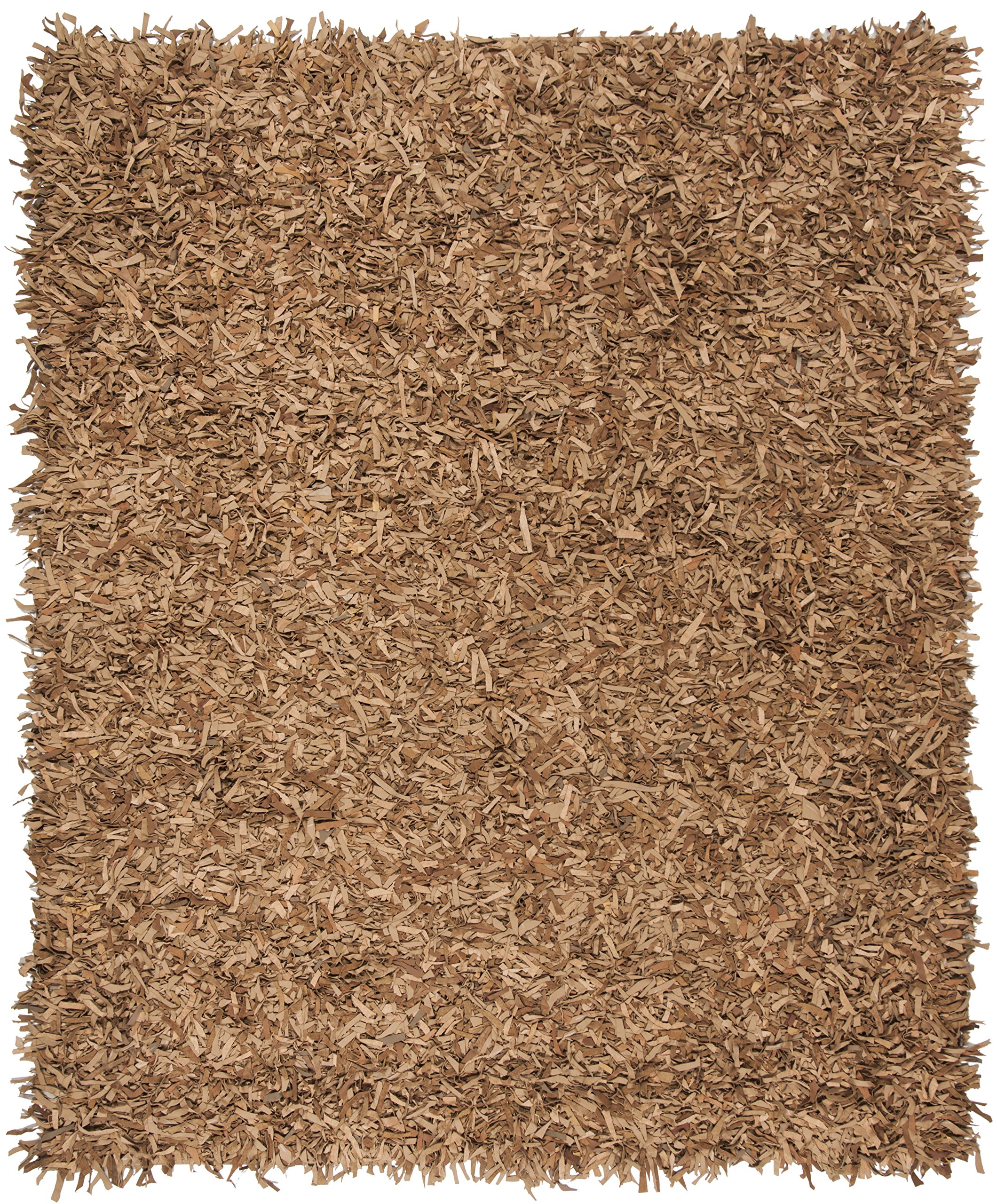 Safavieh Leather Shag Collection LSG601E Hand-Knotted Light Gold Decorative Area Rug (6' x 9') by Safavieh