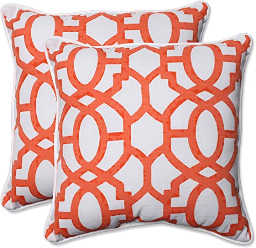 Pillow Perfect Outdoor Indoor Nunu Geo Mango Throw Pillows, 18.5 x 18.5 , White, 2 2