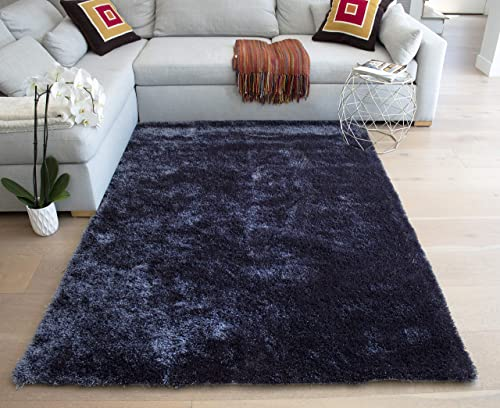 LA Shag Shaggy Rectangular Large Fluffy Plush Fuzzy Solid Furry Floor Soft Pile Scatter Solid Plush 5-Feet-by-7-Feet Polyester Made Area Rug Carpet Rug Gray Grey Color