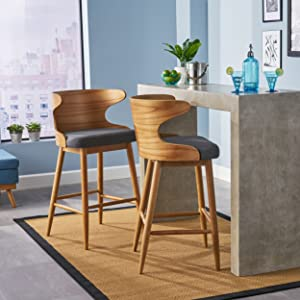 Christopher Knight Home 304582 Truda Mid Century Modern Fabric Barstools Set of 2 in Charcoal