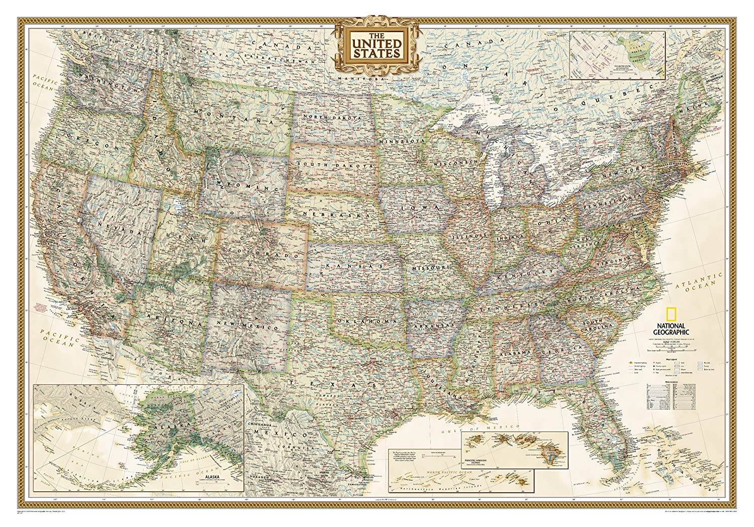 USA Executive Map 1 : 4 560 000 Martina Hertel National Geographic United States of America REFERENCE / Atlases