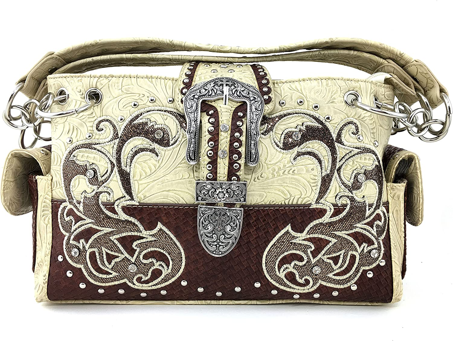 Justin West Purse Laser Cut Rhinestone Silver Buckle Cross Shape Concealed Carry Handbag
