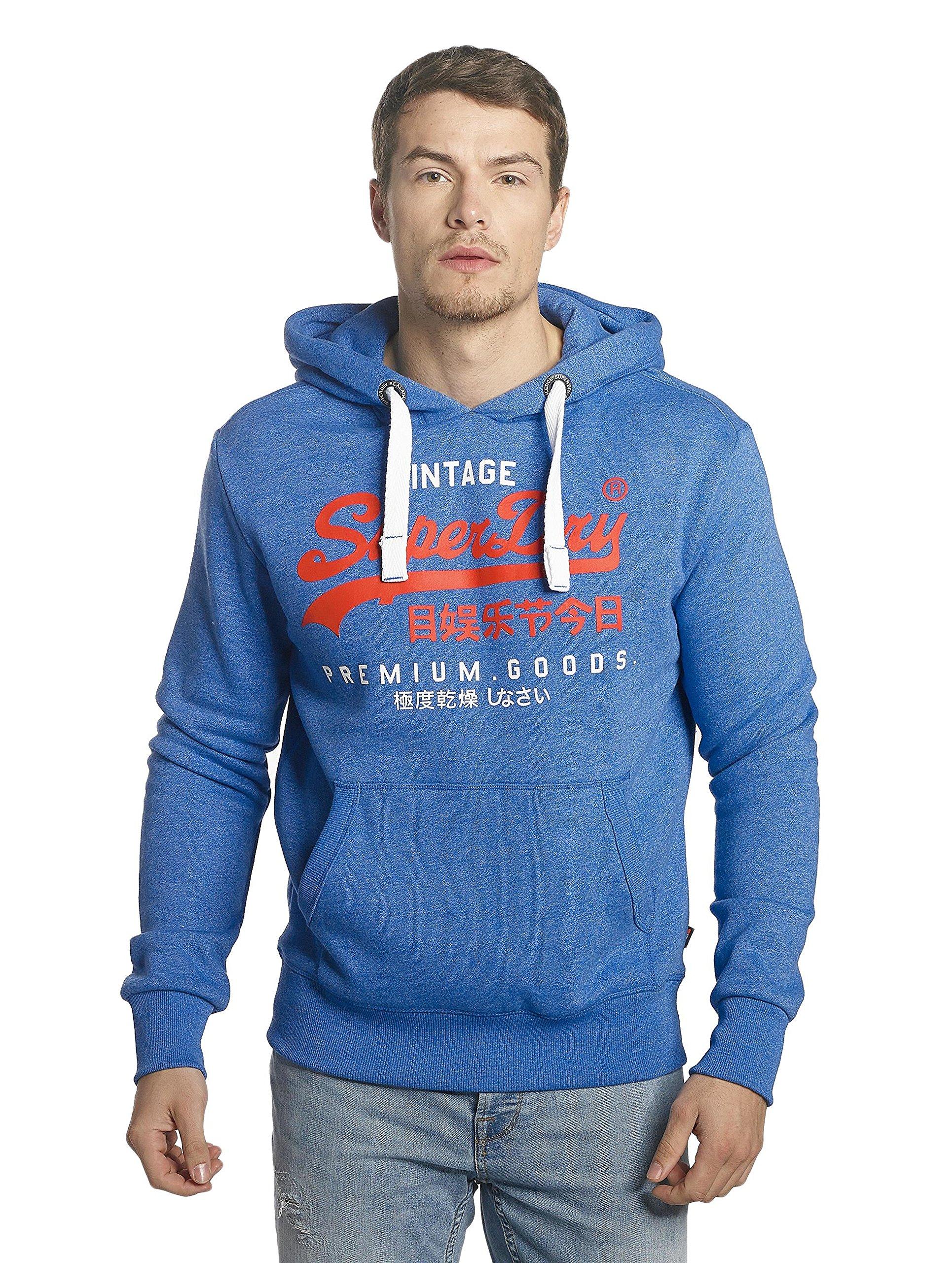 Superdry Men's Premium Goods Duo Pullover Hoodie, Blue, Large