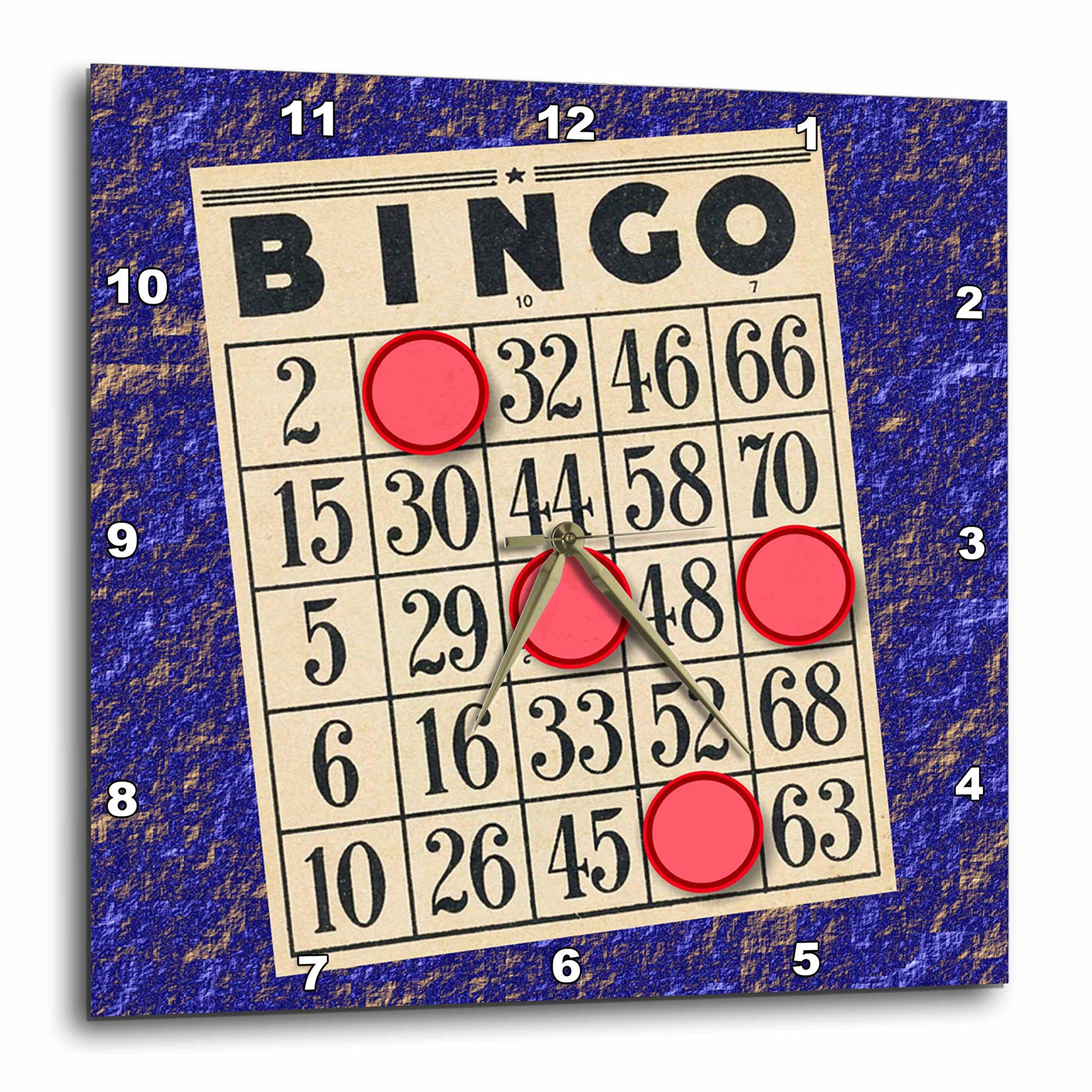 3D Rose Playing Bingo Wall Clock, 13'' x 13'' by 3dRose