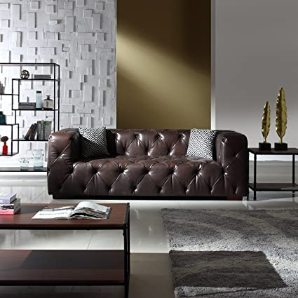 Large Tufted Real Italian Leather Chesterfield Sofa, Classic Living Room  Couch (Dark Brown)