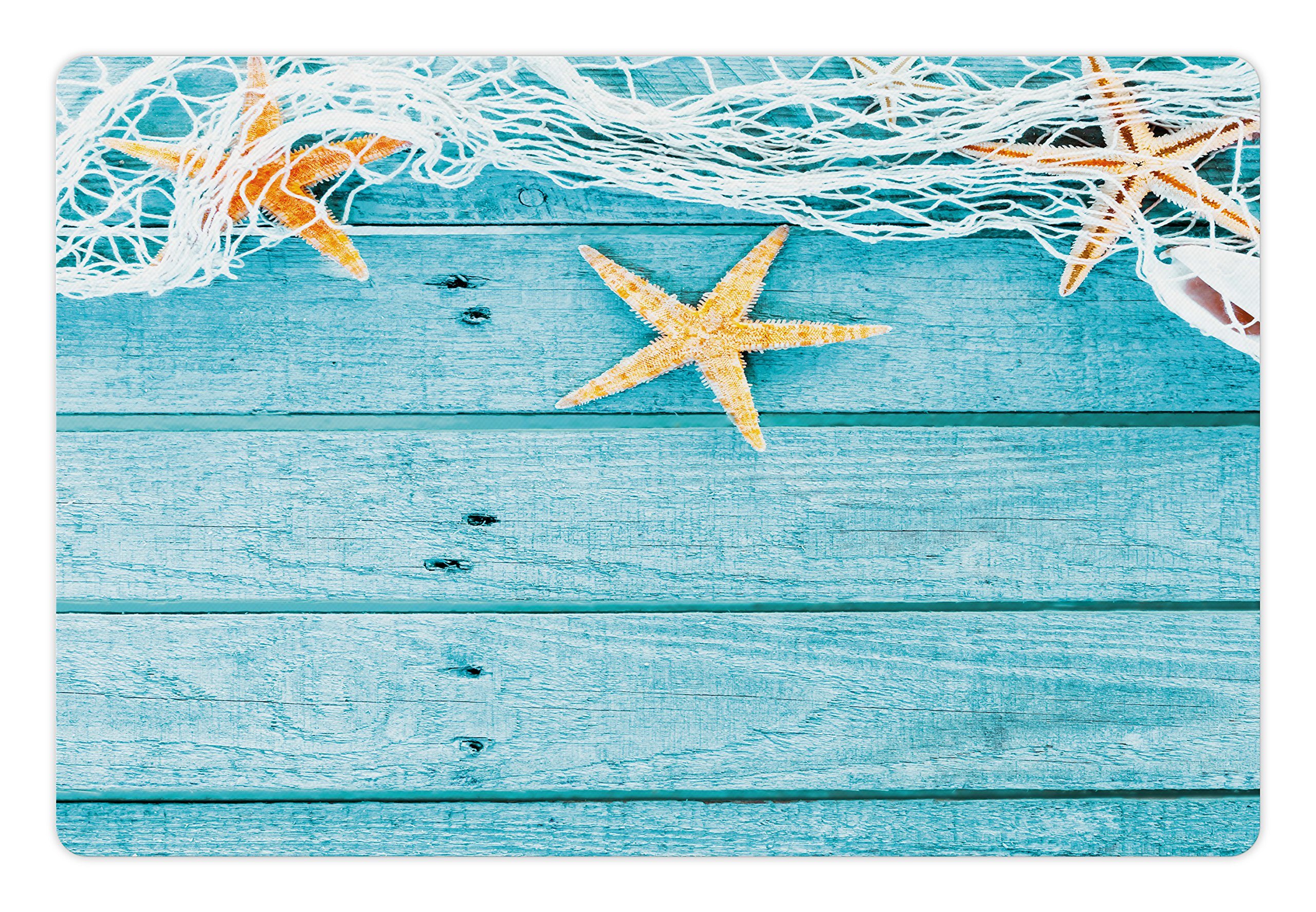 Ambesonne Starfish Pet Mat for Food and Water, Rustic Wood Boards Fishing Net and the Ocean Animals Nautical Print, Rectangle Non-Slip Rubber Mat for Dogs and Cats, Turquoise White Orange