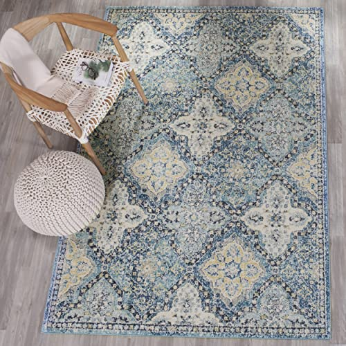 Safavieh Evoke Collection EVK274C Contemporary Trellis Light Blue and Ivory Area Rug 10' x 14'