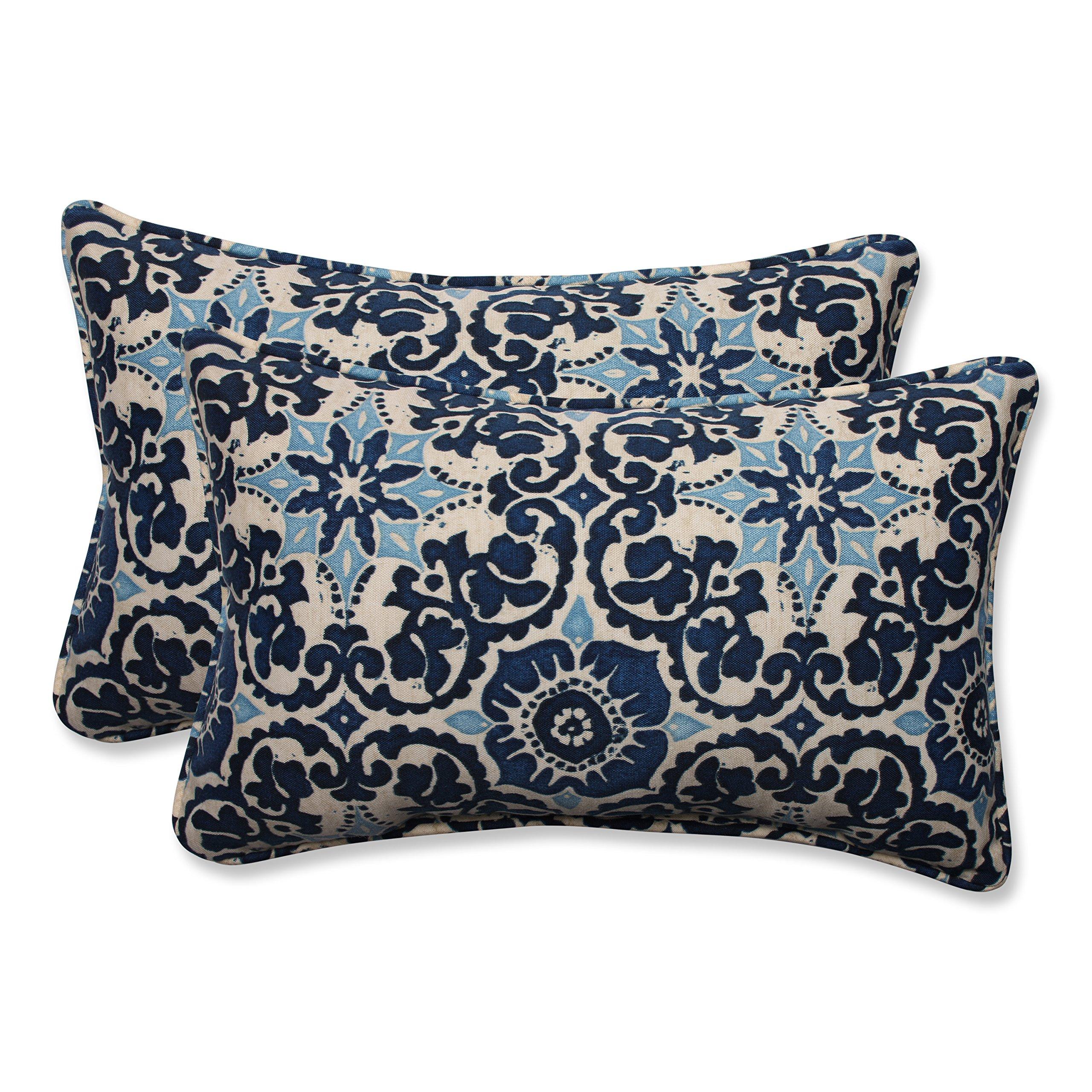 Pillow Perfect Outdoor/Indoor Woodblock Prism Rectangular Throw Pillow (Set of 2), Blue