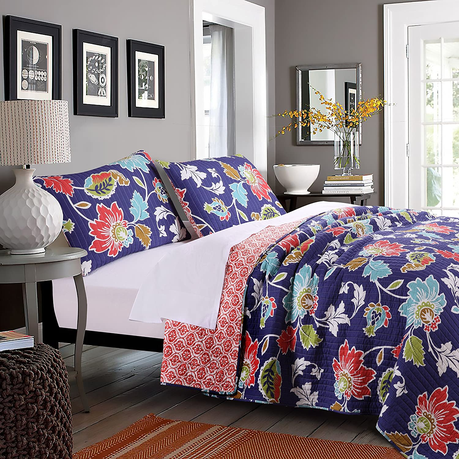 Greenland Home 3 Piece Phoebe Midnight Quilt Set, King, Blue