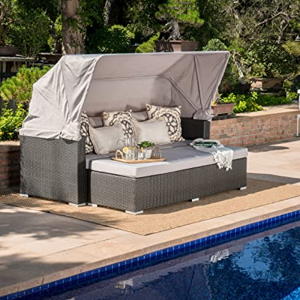 Grayson Outdoor Aluminum Framed Wicker Sofa with Water Resistant Canopy and Cushions (Grey/Silver & Amazon.com: Grayson Outdoor Aluminum Framed Wicker Sofa with Water ...
