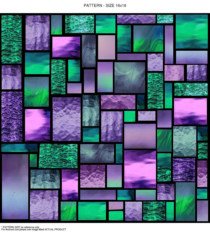 (ウィンドウピックス) WindowPix  静電気で貼って剥がせるUVカット省エネ  窓用クリアプリントフィルム  105  オータムステンドグラス  幾何学模様 24 x 72