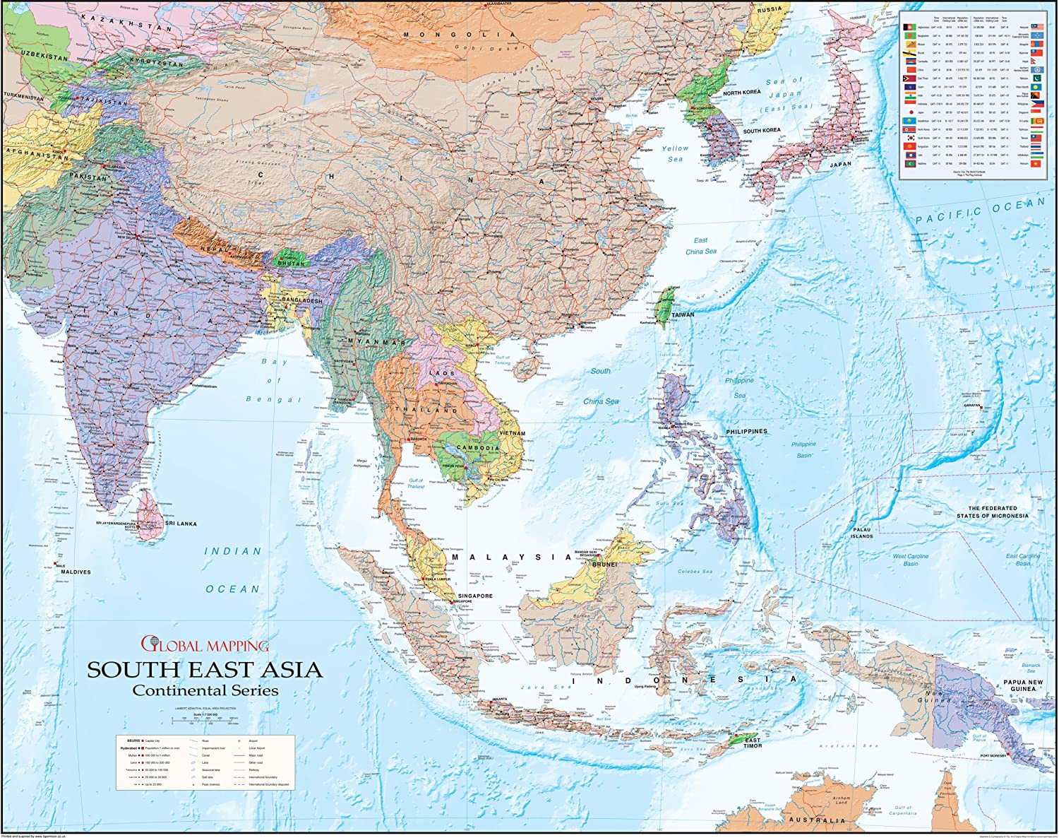 South East Asia Wall Map Global Mapping Continental Series – East Asia and Southeast Asia Map
