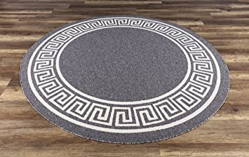 Amazon Com 6 7 Round Indoor Outdoor Area Rug Contemporary Greek