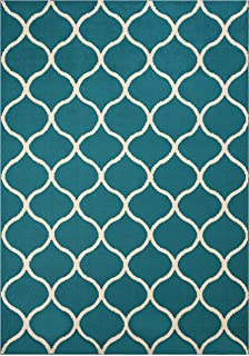 product image for Maples Rugs Rebecca Contemporary Area Rugs for Living Room & Bedroom [Made in USA], 5 x 7, Teal/Sand