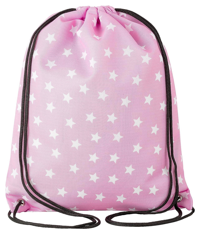 Aminata Kids Kinder Turnbeutel für Mädchen mit Star Sternchen Stern e Sport Tasche n Gym Bag Sport Beutel Tasche rosa Weiss e