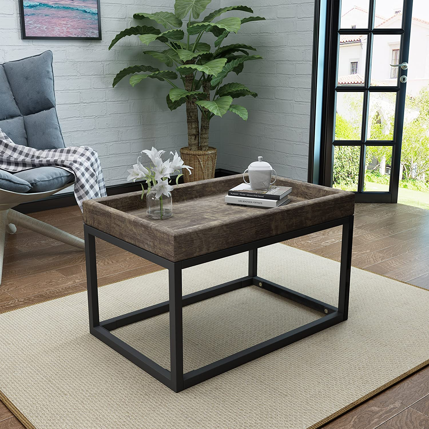 Amazon Com Halo Rustic Finished Faux Wood Coffee Table With Black