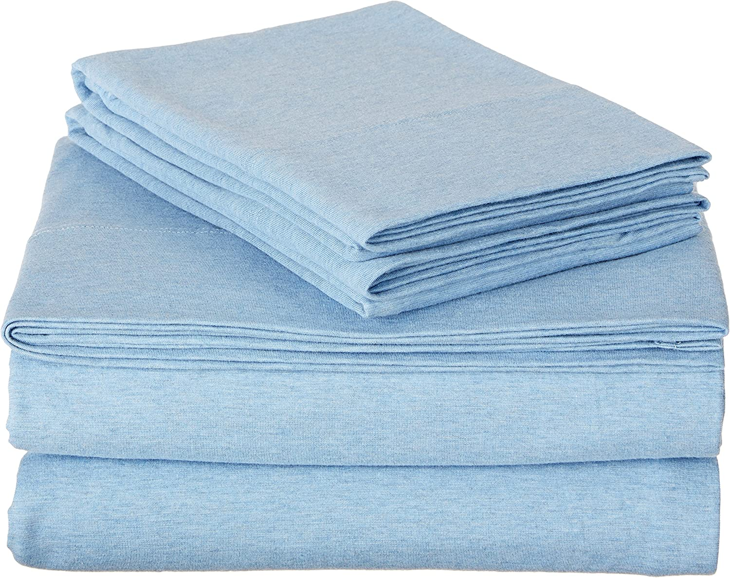 AmazonBasics Heather Cotton Jersey Bed Sheet Set - Queen, Sky Blue