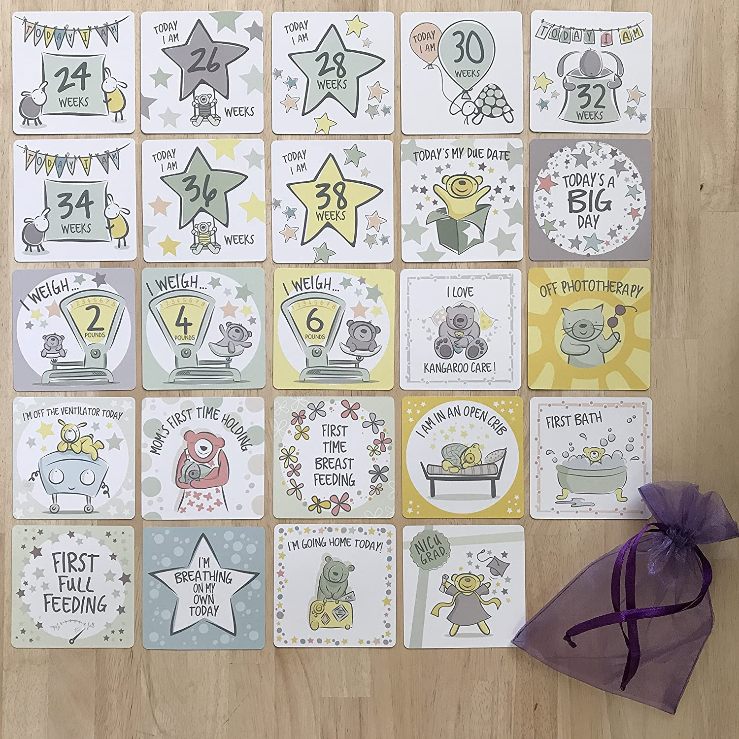 Celebrate The Special Moments in The Neonatal Intensive Care Unit NICU Milestone Cards from Every Tiny Thing
