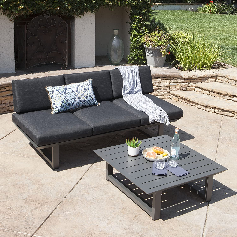GDFStudio Brandy Outdoor Sofa w Coffee Table Water Resistant Cushions Dark Grey Grey