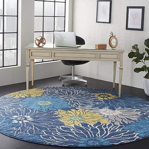 Nourison Passion Floral Bohemian Blue XROUND Area Rug 8' Round