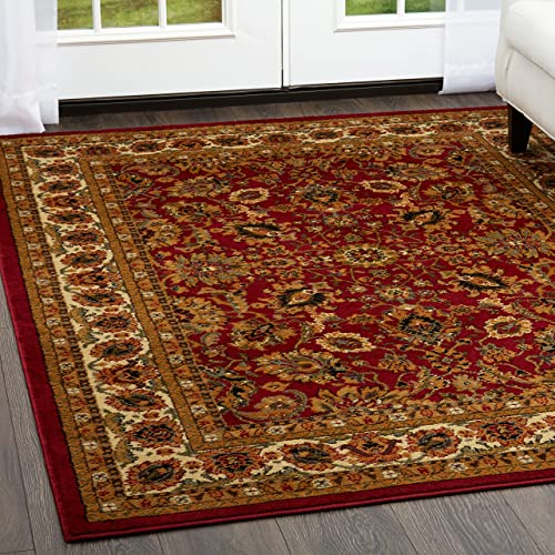 Home Dynamix Royalty Orion Traditional Round Area Rug 7 10 Round, Oriental Red