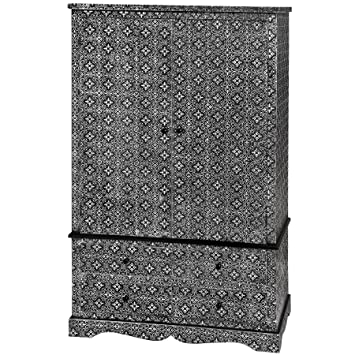 Style-A-Room BLACK AND SILVER EMBOSSED BEDROOM WARDROBE WITH DRAWERS  STORAGE UNIT MOROCCAN (H8840) ** FULL RANGE OF MATCHING FURNITURE IS  AVAILABLE **