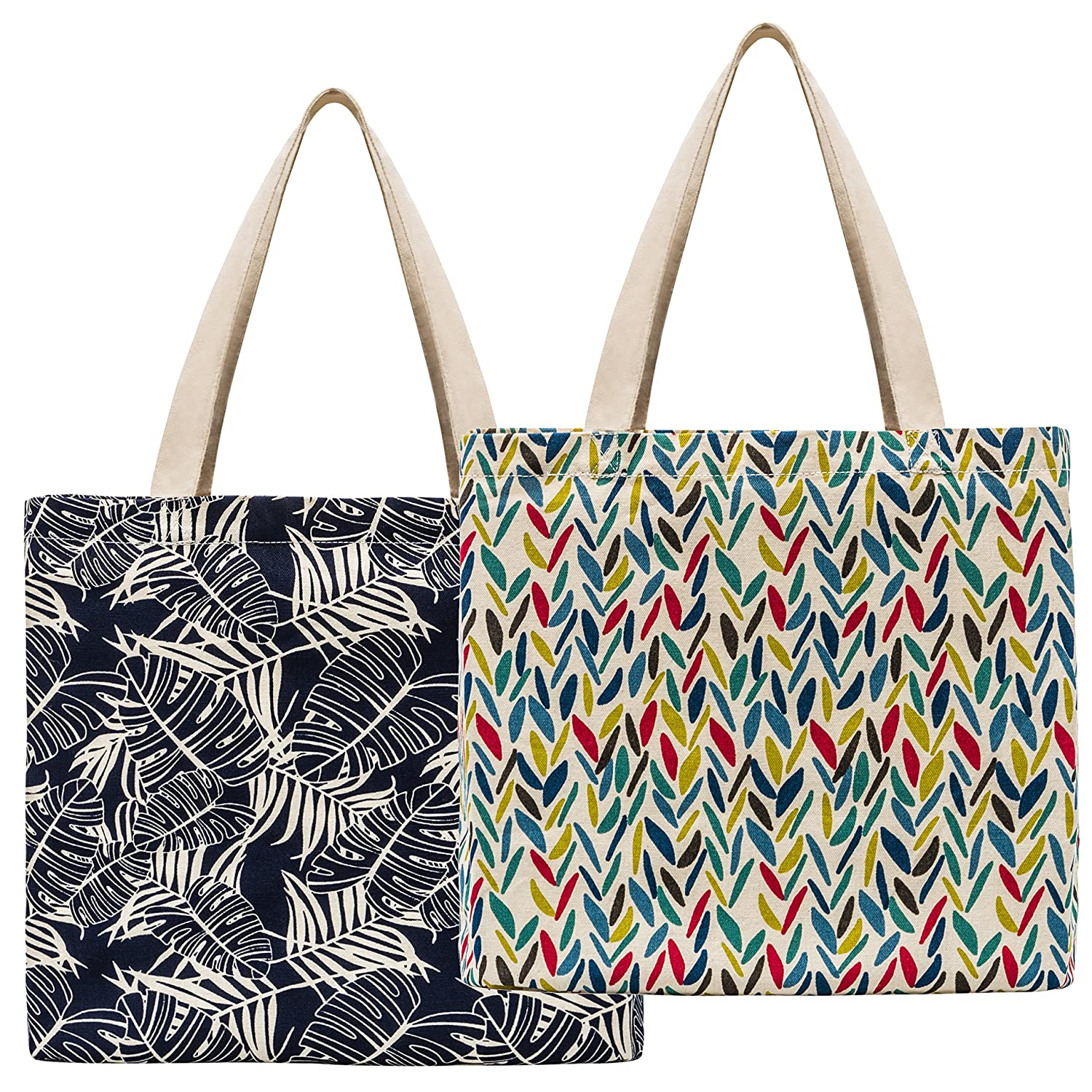 ee6192fd7ab36 Amazon.com: Planet E Reusable Canvas Tote Bags - Made In USA Fashionable  Perfect for Shopping or Groceries (Pack of 2): Kitchen & Dining