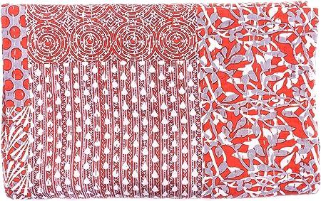 Sofía Art - Manta de algodón con Estampado Indio de Indio Puro Indigo y Estampado Floral, Estilo Vintage, para Cama ...