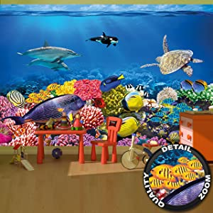 Wall Mural Aquarium Mural Decoration Colourful Underwater World Sea Dweller Ocean Fishes Dolphin Coral Reef Clownfish I paperhanging Wallpaper poster wall decor by GREAT ART 132.3 x 93.7 Inch (336 x 2