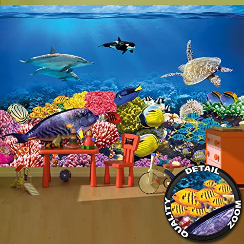 Wall Mural Aquarium Decoration Colorful Underwater World Sea Dweller Ocean Fishes Dolphin Coral Reef Clownfish