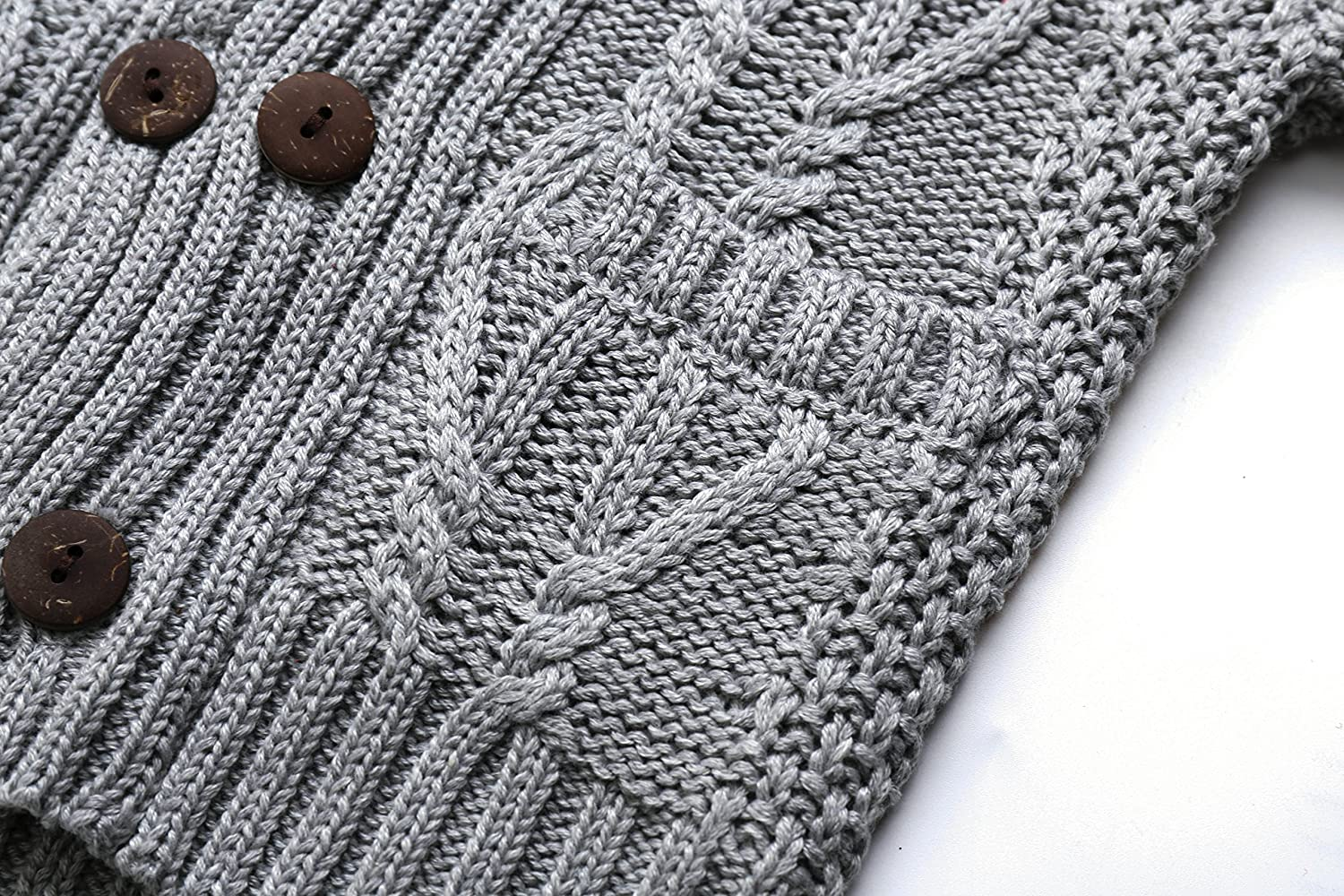 d010f7df003e Amazon.com  DOYOMODA Baby Boys 100% Cotton Cable Knit Cardigan Toddler  Shawl Collar Sweater  Home   Kitchen