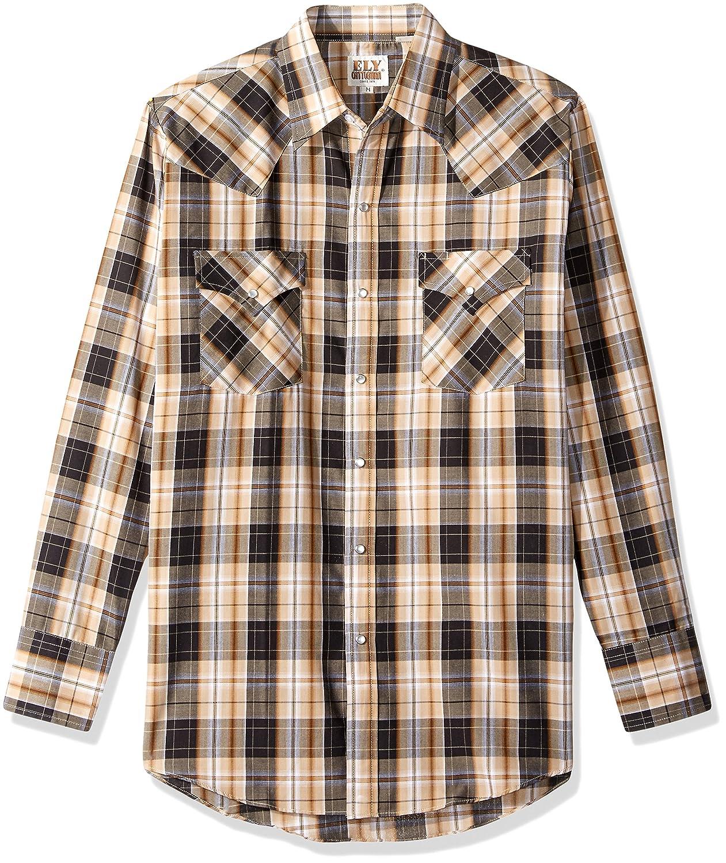 ELY CATTLEMAN Mens Long Sleeve Plaid Western Shirt