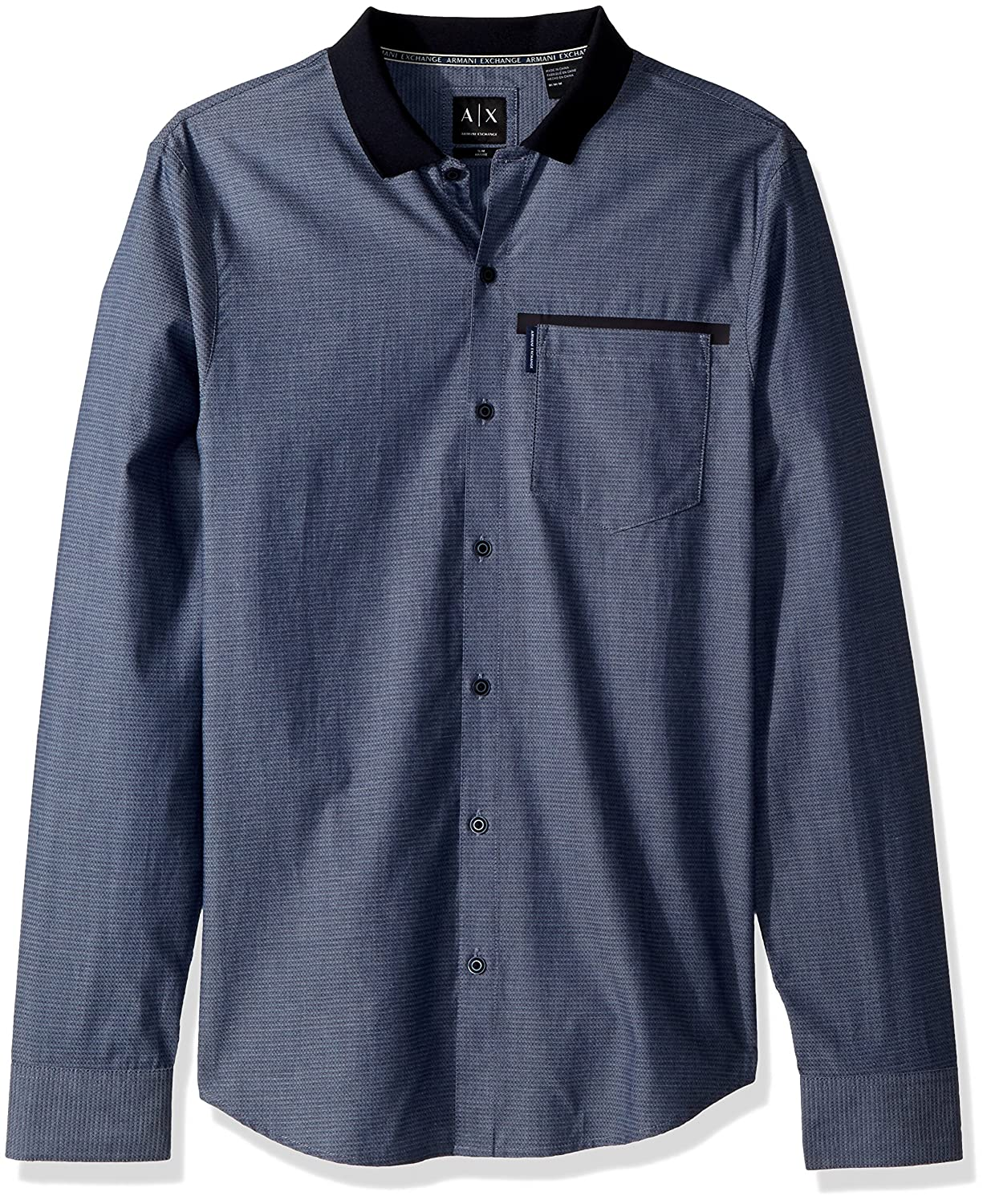 A|X Armani Exchange Men\'s Long Sleeve Button Down with Front Pocket and Black Collar 3ZZC24ZNBRZ0529