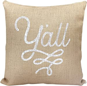 Texas Throw Pillow Cover Y'all Design Burlap and Canvas Texas Pillow Cover 18 x 18 Inches - Texas Pillow Cover Only