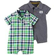 Carter's Baby Boys' 2-Pack One Piece Romper, Blue Stripe/Green Plaid, 3 Months