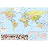 Graphics world world map hd waterproof banner poster amazon world wall map 52 w x 37 h 2017 gumiabroncs Image collections