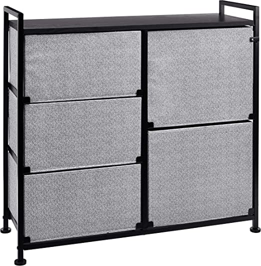AmazonBasics Unidad de almacenamiento, de tela, con 5 cajones, para armario, negro: Amazon.es: Hogar