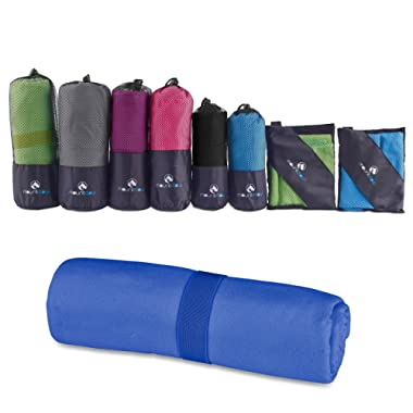 MountFlow Microfiber Travel Towel, Quick Dry Gym Towels for Yoga Outdoor Camping Beach Fitness Sports and Pool, Lightweight and Compact for Body and Hair