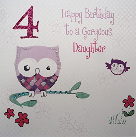 White Cotton Cards Owl Happy Birthday To A Gorgeous Daughter