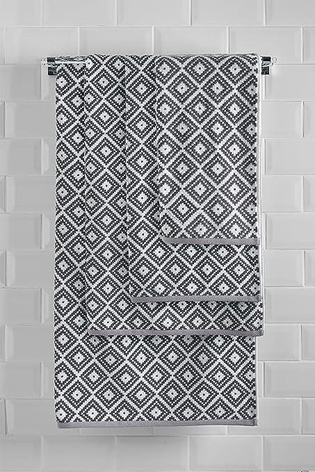 Next Toalla Monocromática Con Diseño Geométrico De Rombos Mono Toalla de baño extragrande