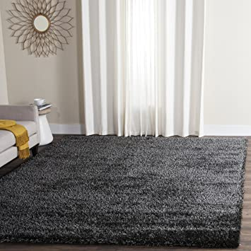 Safavieh Charlotte Shag Collection SGC720C Charcoal Area Rug, 8 Feet By 10  Feet (8