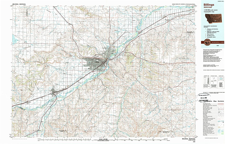Amazon.com : YellowMaps Billings MT topo map, 1:100000 Scale, 30 X ...